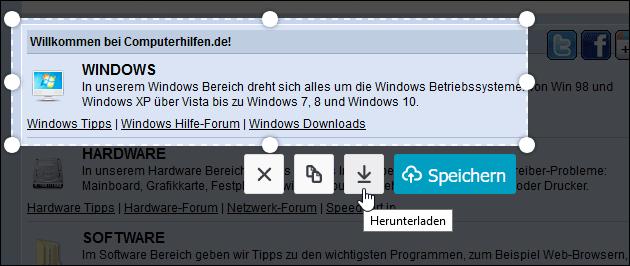 Webseiten Screenshot speichern