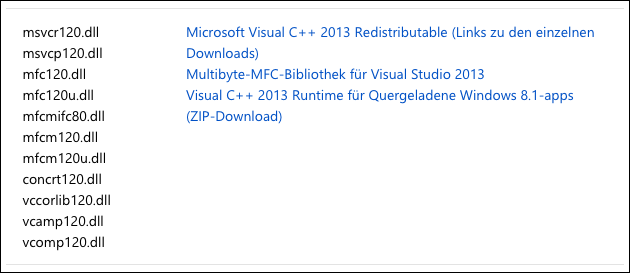Download MSVCR120.dll + MSVCP120.dll