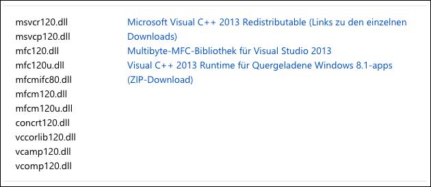 Download MSVCR120.dll + MSVCP120.dll