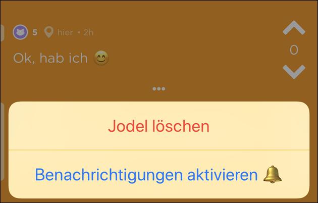 Jodel Nachricht löschen