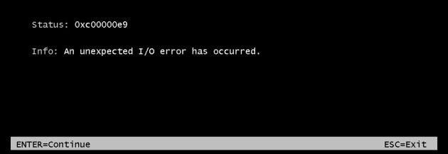 Fehler 0xc00000e9