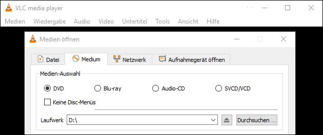 Windows CD, DVD und Blu-Ray abspielen