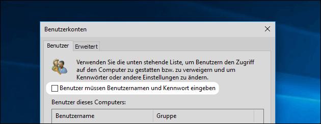 Windows Benutzer Passwort ausschalten