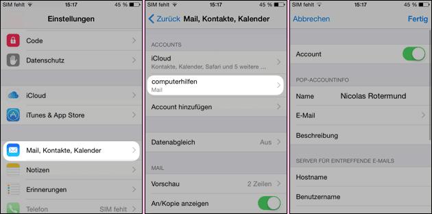 iPhone Email Einstellungen ändern