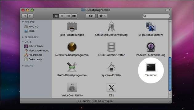 Mac Terminal öffnen