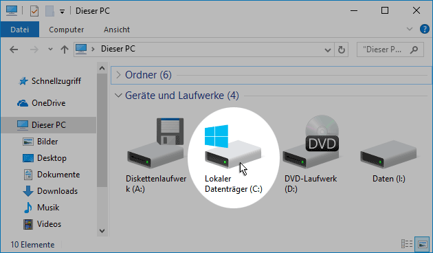 Windows 10 Start-Festplatte