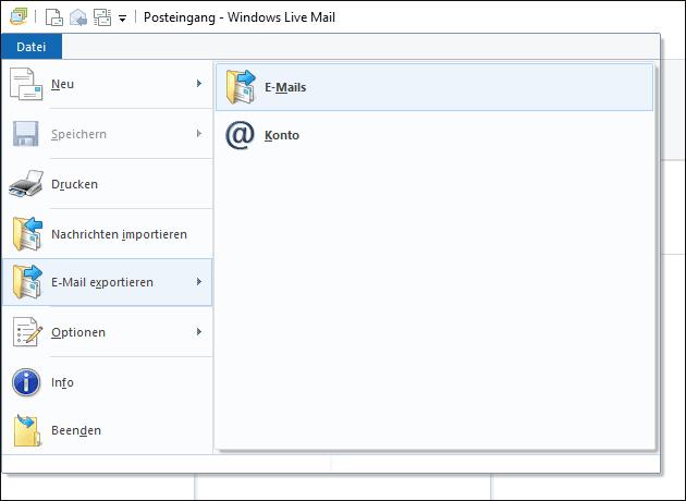 Live Mail für Outlook exportieren