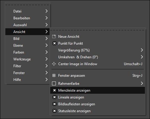 GIMP Menüleiste anzeigen