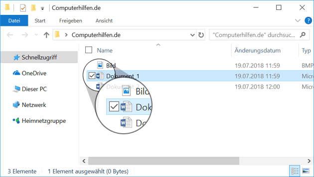 Windows Explorer zeigt Häkchen
