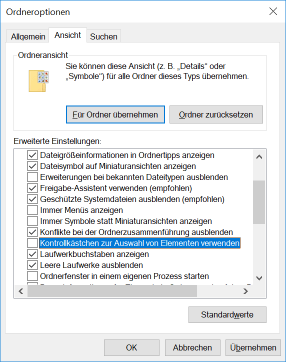 Windows Ordneroptionen