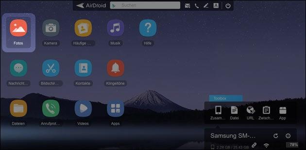 Airdroid Handy Fotos auf PC anzeigen