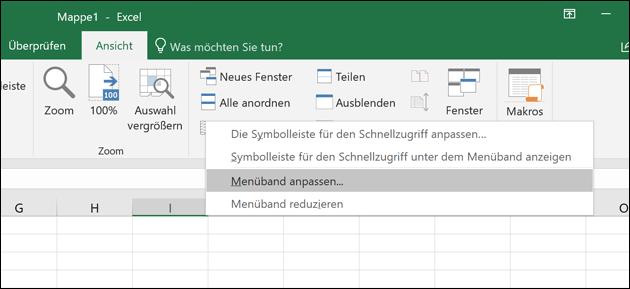 Excel Menü Einstellungen