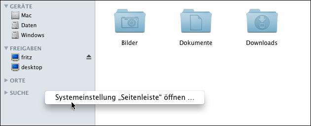 Mac Seitenleiste Einstellungen