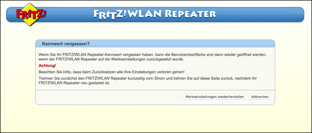 Fritz Repeater Reset