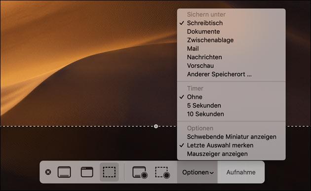 Mac Screenshot Optionen