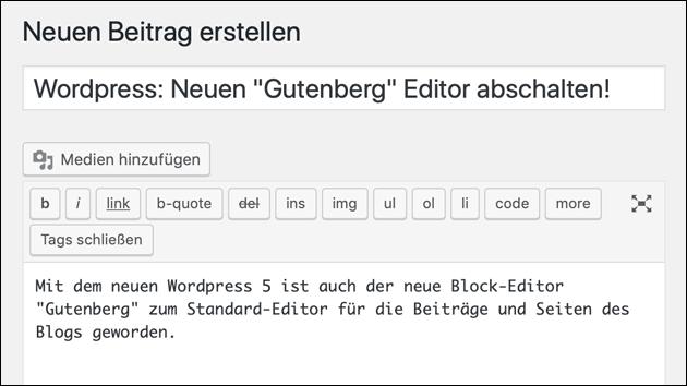 Alter WordPress Editor