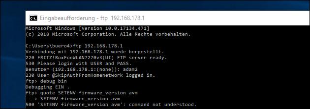 Fritzbox Fehler 500: command not understood