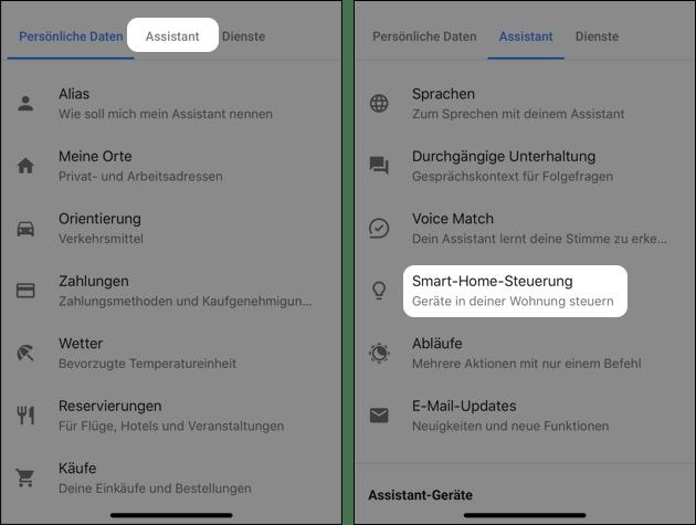 Google Assistant: Smart Home Geräte zufügen