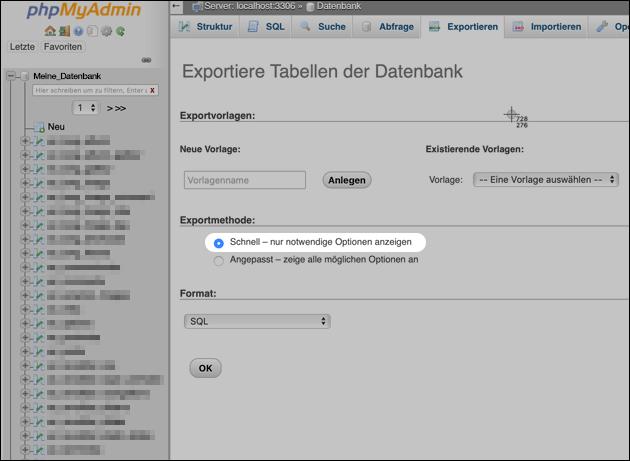 SQL Dump: Export mit phpMyAdmin