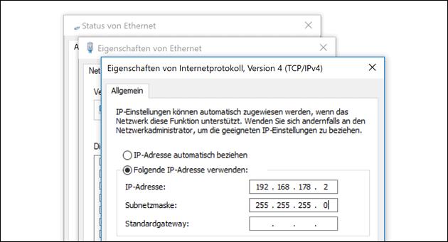 Feste IP Adresse einstellen
