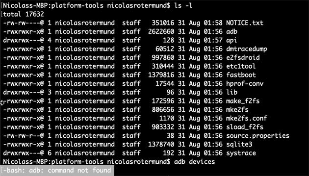bash: adb: command not found