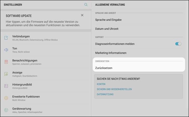 Android Reset Werkseinstellungen