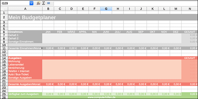 Excel Vorlage Download Budgetplan