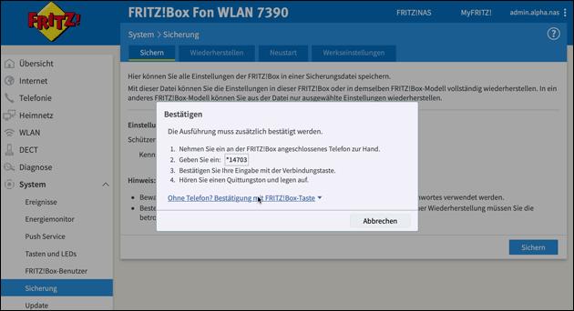 Fritzbox Einstellungen sichern