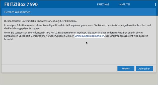 Fritzbox Wechsel: Einstellungen übernehmen