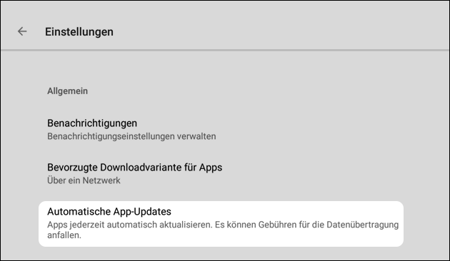 Play Store Updates stoppen