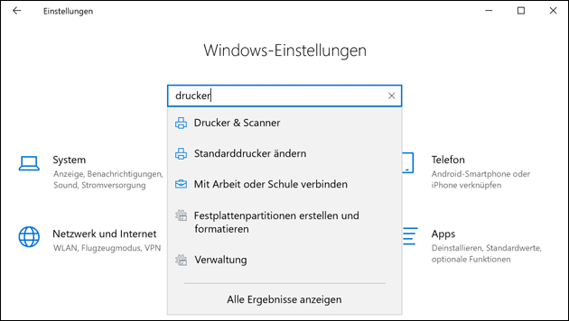 Windows 10 Drucker Einstellungen