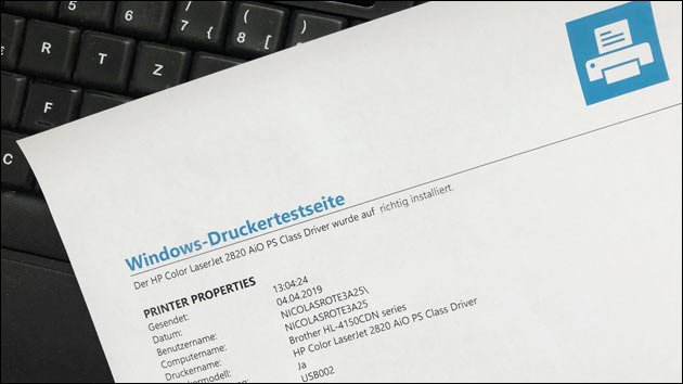 Windows Testseite drucken