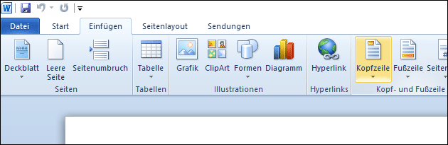 Word Kopf- und Fußzeile