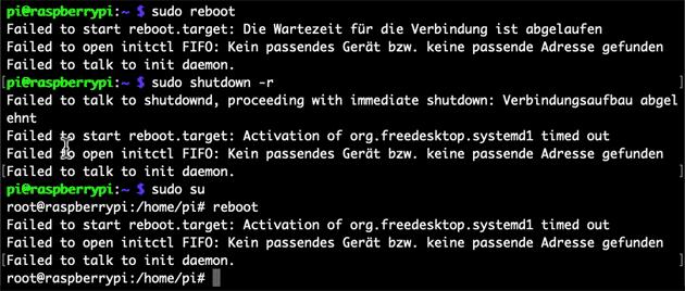 Lösung: Failed to start reboot.target