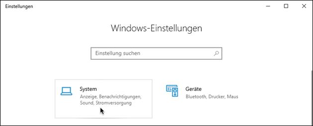 Windows System-Einstellungen
