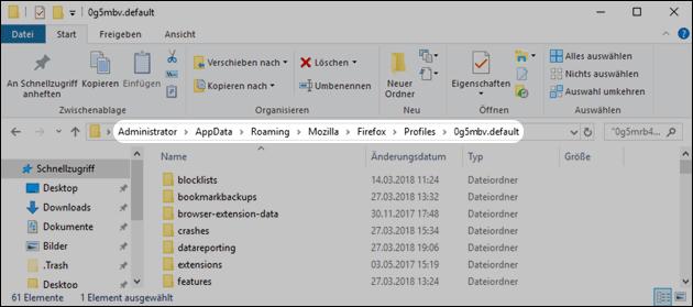 Firefox Profil-Ordner