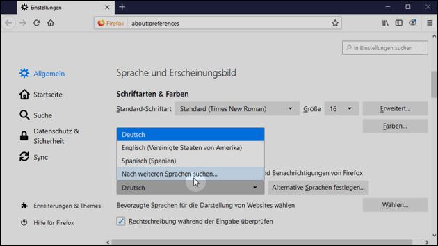 Firefox Sprache ändern