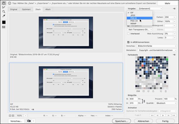 PNG Dateien verkleinern mit Photoshop