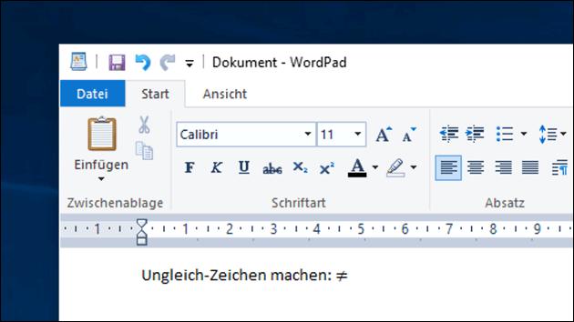 Ungleich Zeichen Windows und Mac