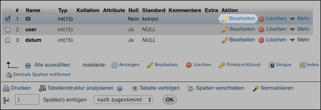 PHPMyAdmin: Tabelle und Spalten