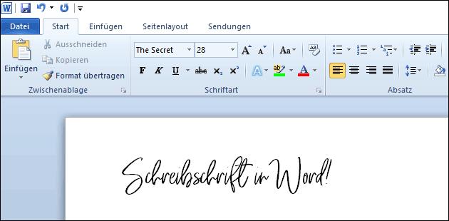 Schreibschrift in Word
