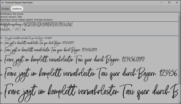 Schriftart installieren