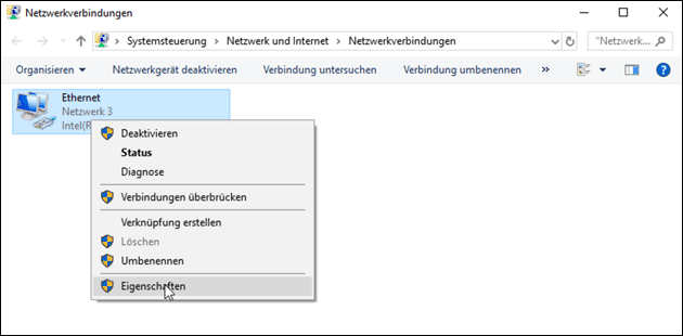 Netzwerk-Adapter Eigenschaften