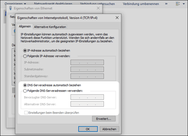 Windows 10: DNS Server Einstellungen