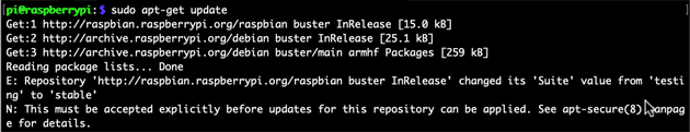 raspbian buster InRelease changed its Suite value from testing to stable