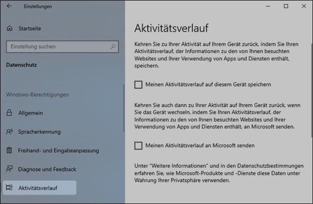 Windows Zeitleiste abschalten