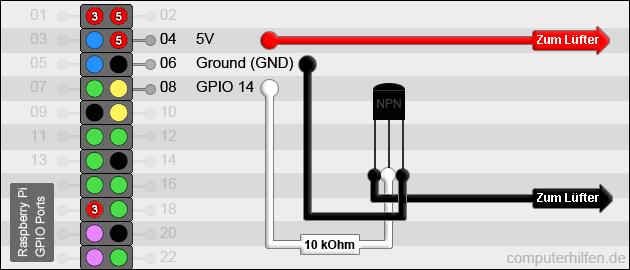 Raspberry Pi: NPN Transistor schalten
