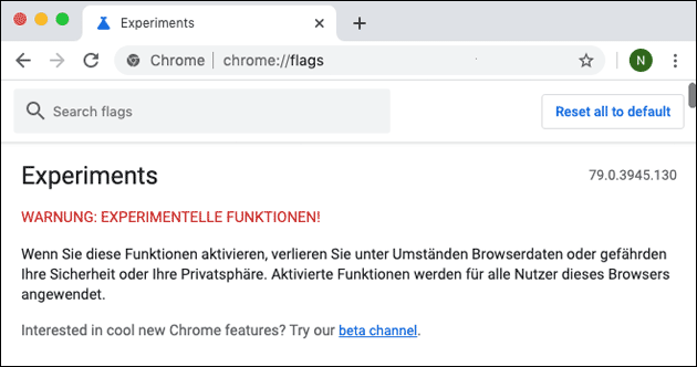 Chrome Flags Einstellungen öffnen