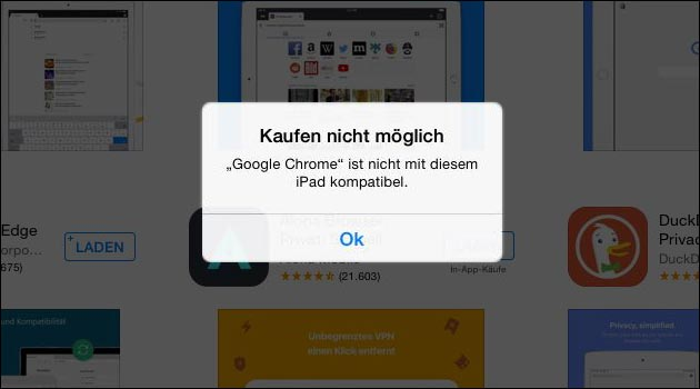 App kaufen nicht möglich: App nicht mit diesem iPhone / iPad kompatibel