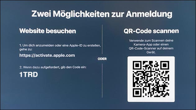 Apple TV App: Anmelden auf Fire TV